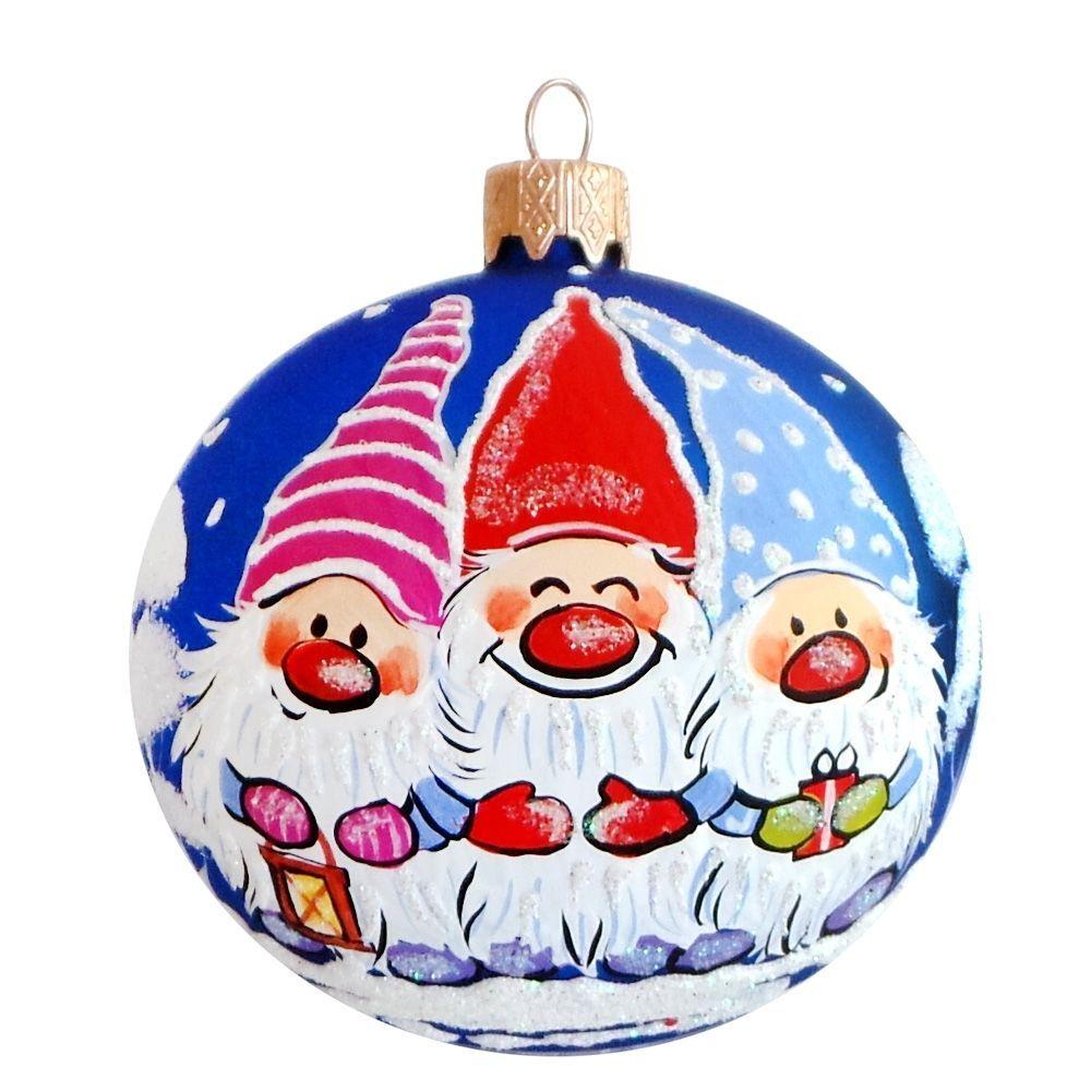 4 Three Gnomes Smiling Glass Ball Christmas Ball Ornament Christmas Balls Handpainted Christmas Ornaments Ball Ornaments