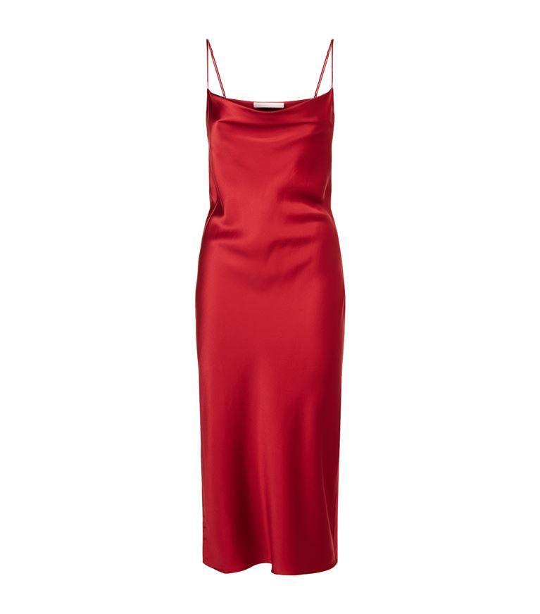 Cowl Neck Silk Slip Dress In Red Vrouw Kleedjes