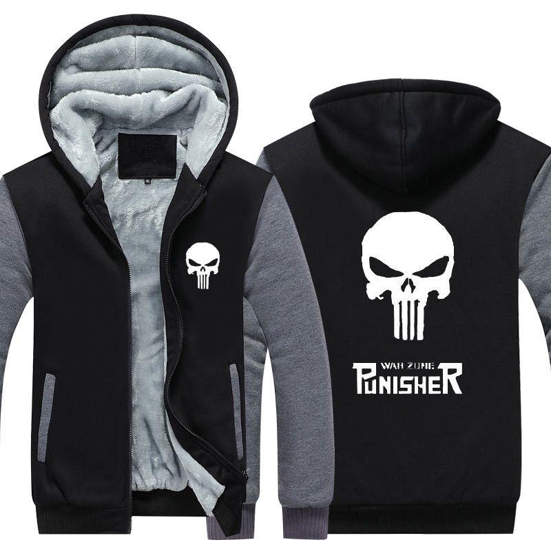 The Punisher Hoodie Zip up Jacket Coat Winter Warm Blue Camoflauge