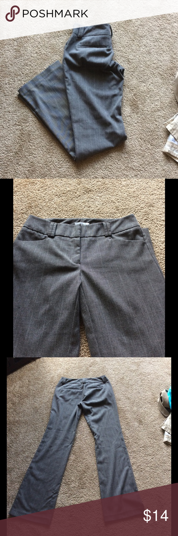 Gray pants Loved these pants. They just don't fit me anymore. Neutral color went with almost every shirt in my closet. Perfect for work in office, teacher, etc. New York and Company, size 0 average, stretch. Clip closure instead of zipper and button. Small snag shown in last picture is located on the back of the pant leg at the bottom. New York & Company Pants