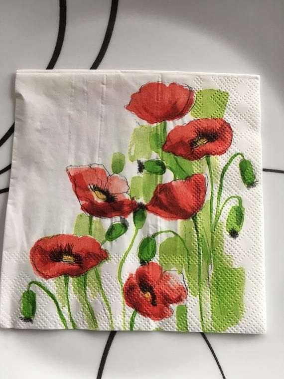 Paper Napkin for Decoupage - Poppies Print - Paper Crafts - Scrapbooking Napkin - Decorative Napkin