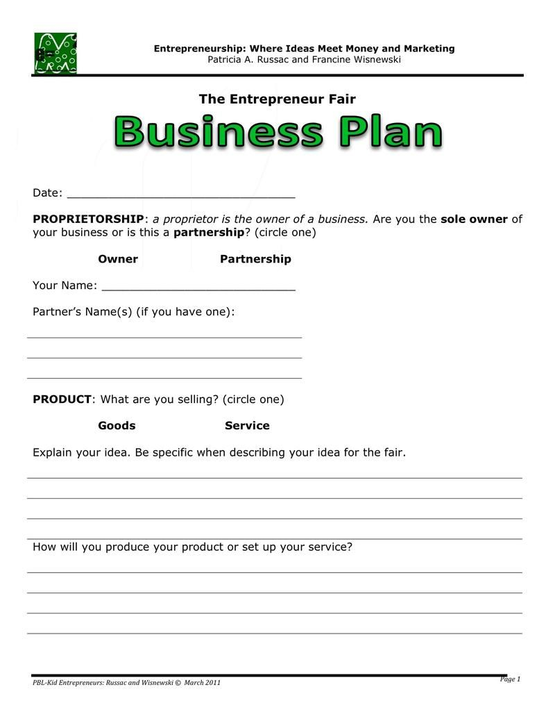 Business Plan One page business plan, Business plan