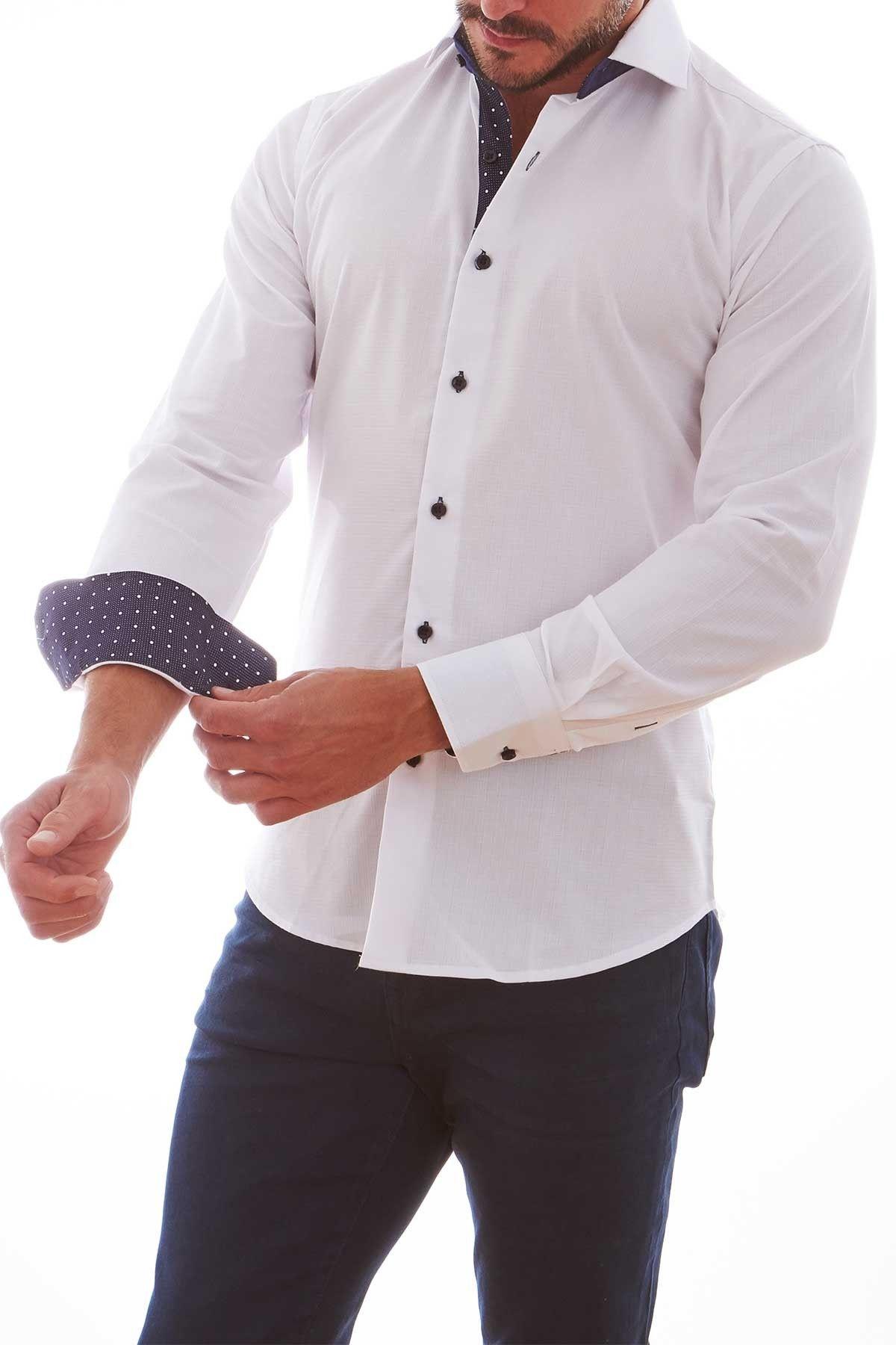 Contrast Trim Long Sleeve Slim Fit Shirt
