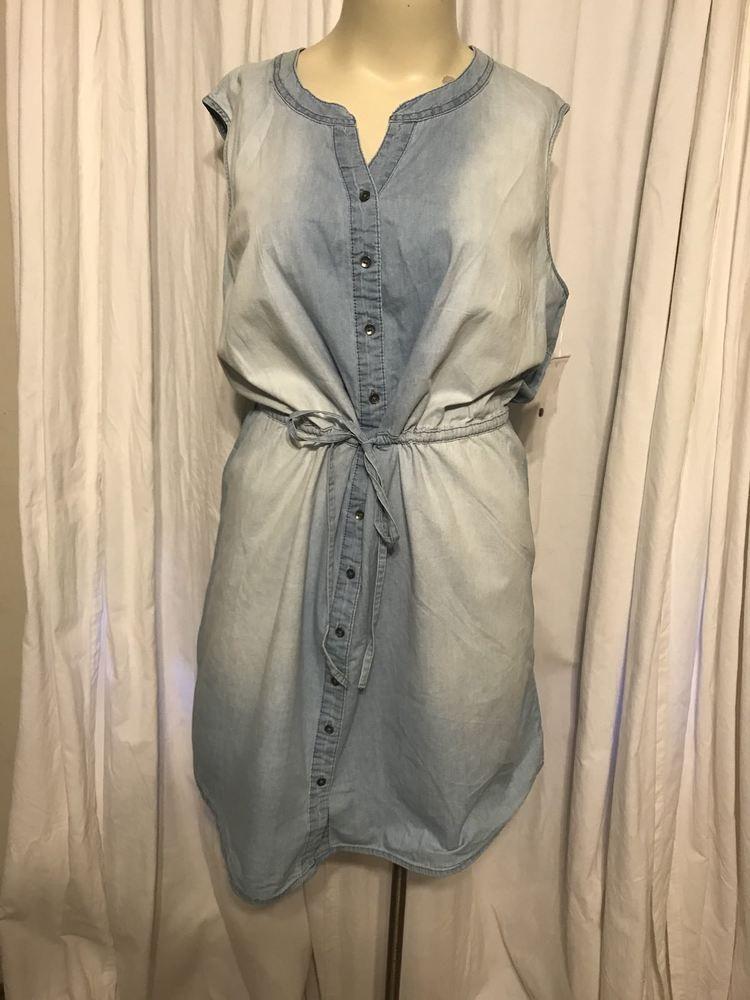 0db1e286147788  DenimDress Faded Glory Sleeveless Blue Button Front Denim Women s Plus  Size 3x - Denim Dress