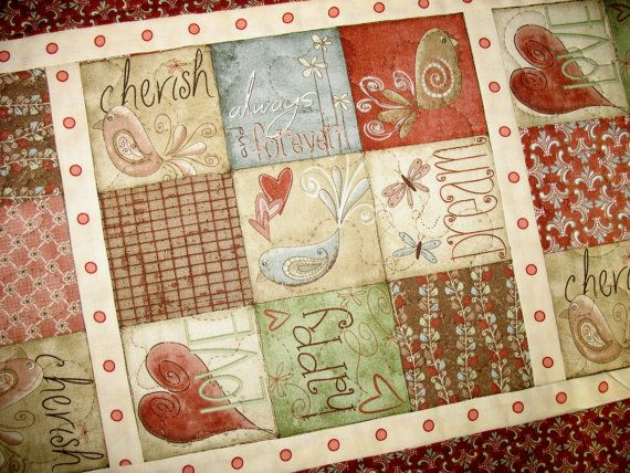 ValentineTable Runner  with hearts love birds by PicketFenceFabric, $31.00