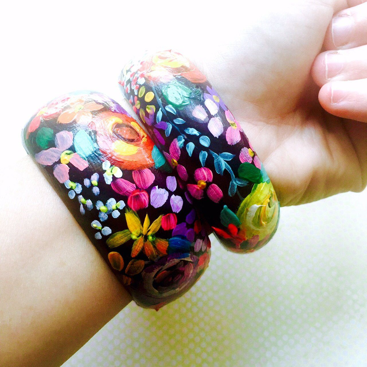 Beautiful Hand Painted Floral Print Wooden Bangle Bracelet. A ...