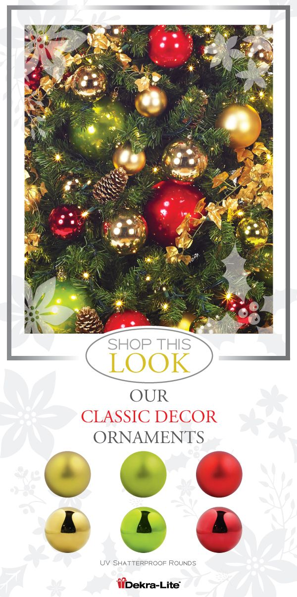 For A More Classic Color Palette The Package Uses A Variety Of Gold Apple Green And Red Commercial Christmas Decorations Red Ornaments Christmas Decorations