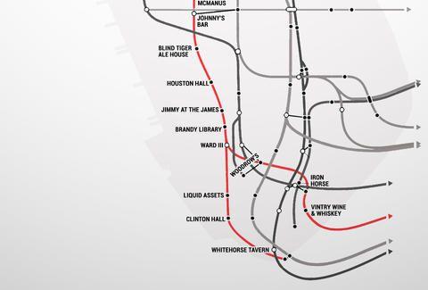 Manhattans firstever Subway Bar Map Nyc Subway map and New york
