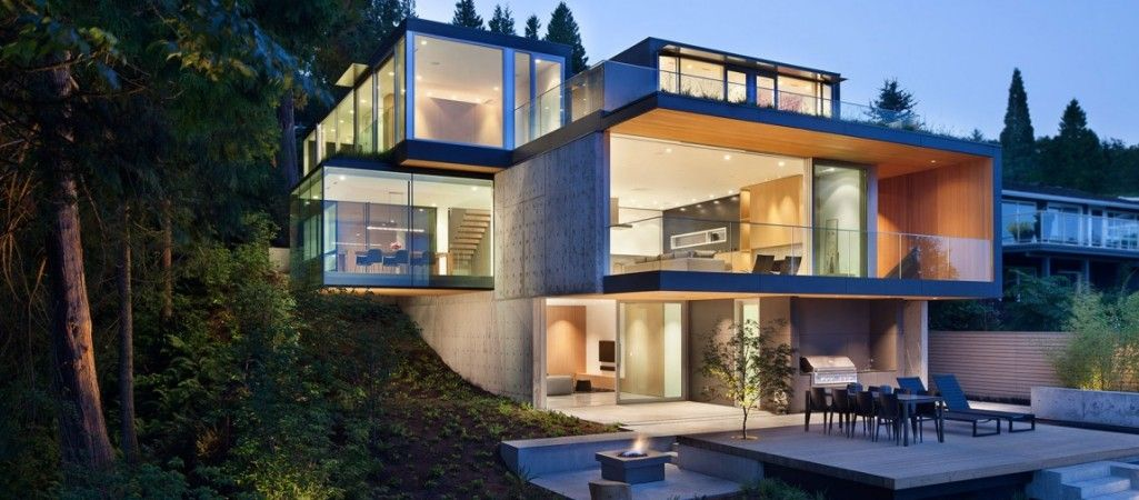 Modern Russet Residence, A By Splyce Design In West Vancouver, Canada, Is  Located On A Steep Site With Mature Cedar And Douglas Fir To The West And  An Ocean ...