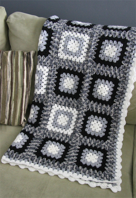 Crochet Blanket Black White Grey Granny Square Acrylic