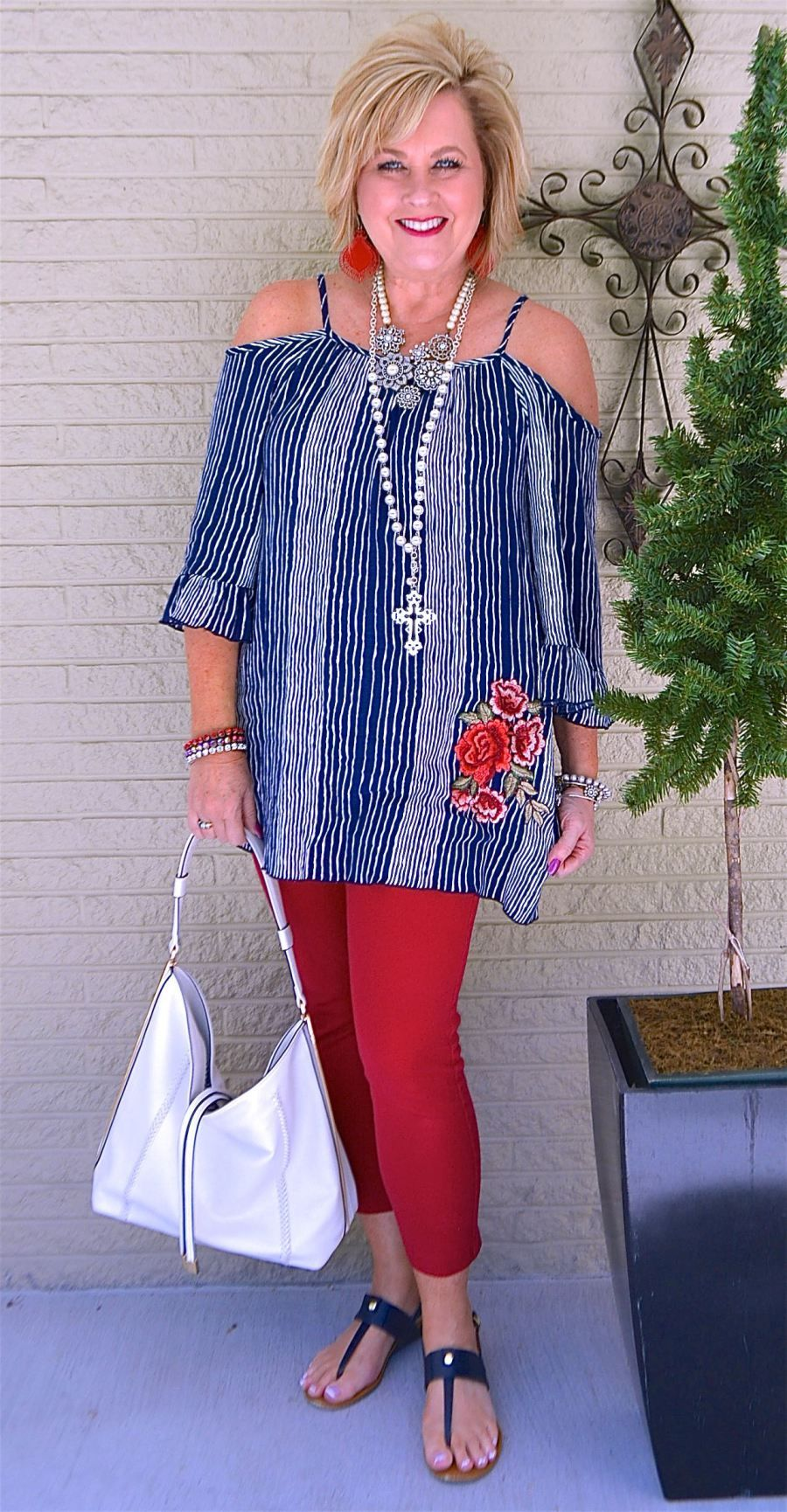 Photo of COLD SHOULDER, STRIPES, AND EMBROIDERY – 50 IS NOT OLD