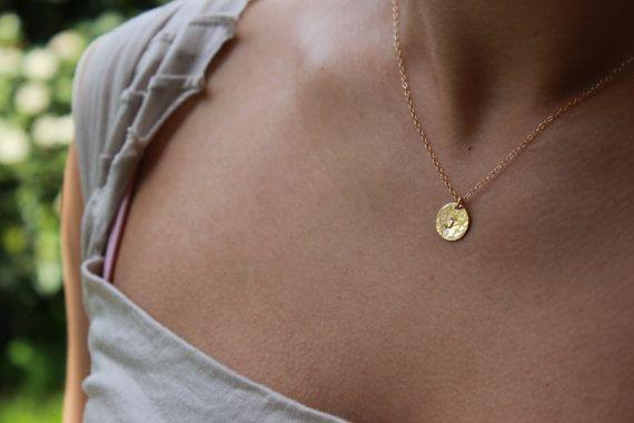 Textured gold fill disc initial charm gold necklace rose gold textured gold fill disc initial charm gold necklace personalized gift small jewelry weddign aloadofball Gallery