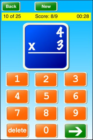 """Math Flash Cards ! ! ($0.99) Math Flash Cards is a great way to learn and practice addition, subtraction, multiplication, and division. Select the difficulty level and the number of problems in the """"Settings"""" screen."""