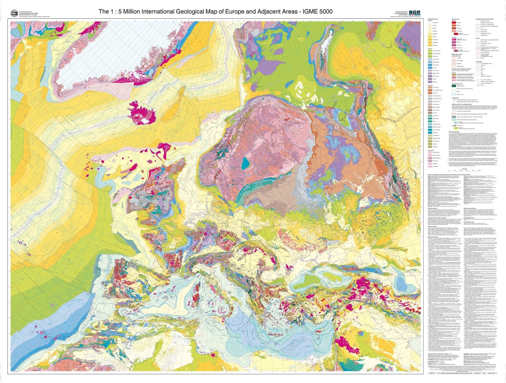 The 15 million international geological map of europe and adjacent international geological map of europe gumiabroncs Images