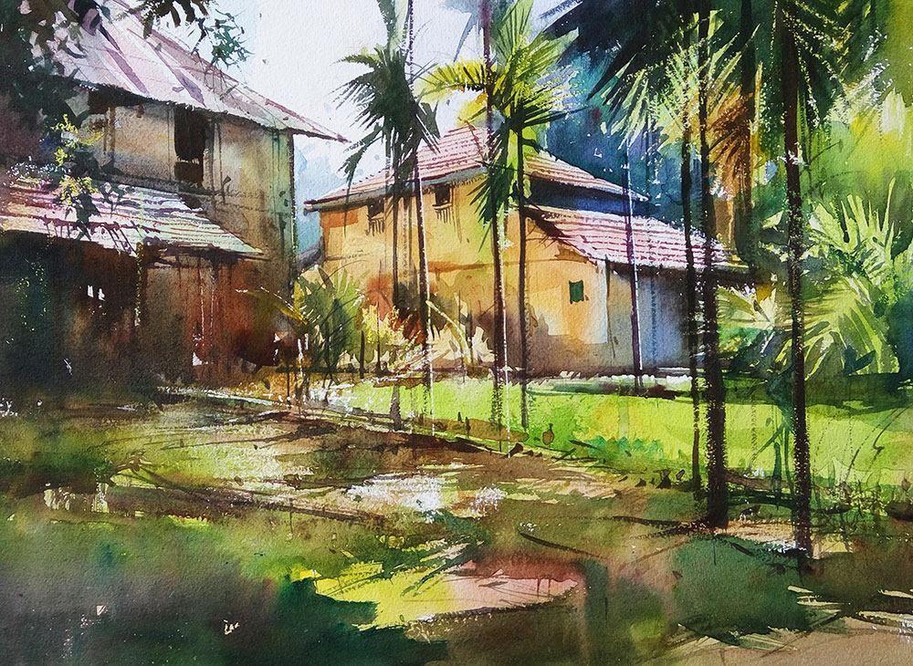 Landscapes Milind Mulick Watercolor Landscape Paintings Watercolor Scenery Scenery Paintings