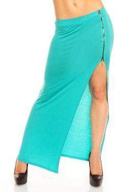 blauwe lange rok met split