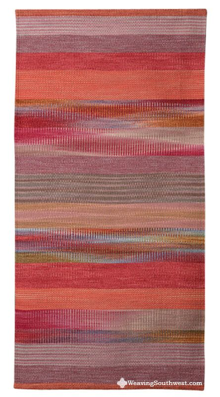 Your Daily Dose of Inspiration! Coyote Gulch by Connie Enzmann-Forneris, 60″ x 30″, hand-dyed wool on linen. Enjoy!