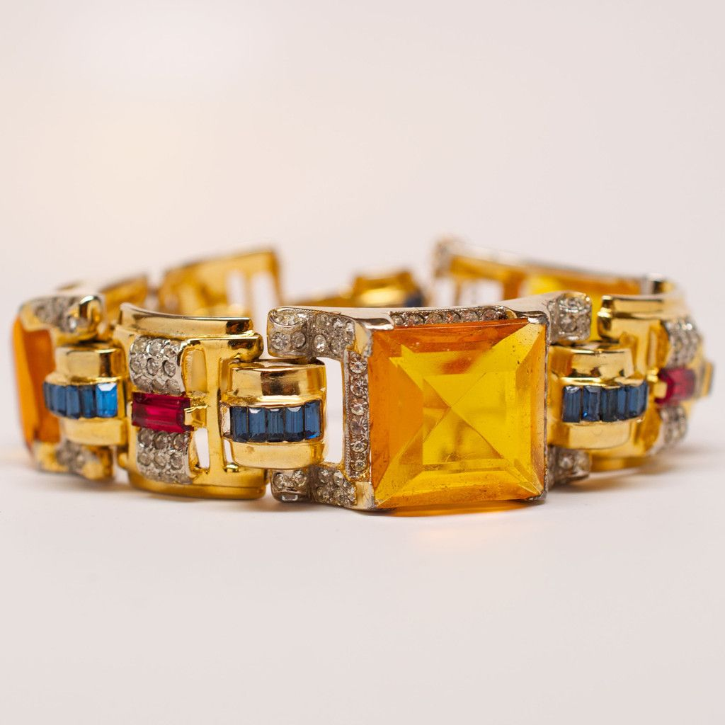 "Unsigned Yellow Gem with Crystal Detail Bracelet 7"" length.  #bracelet #yellow"