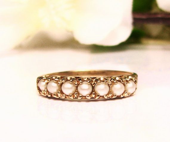 Vintage Pearl Wedding Band Las Ring 10k Yellow Gold Anniversary Size 7