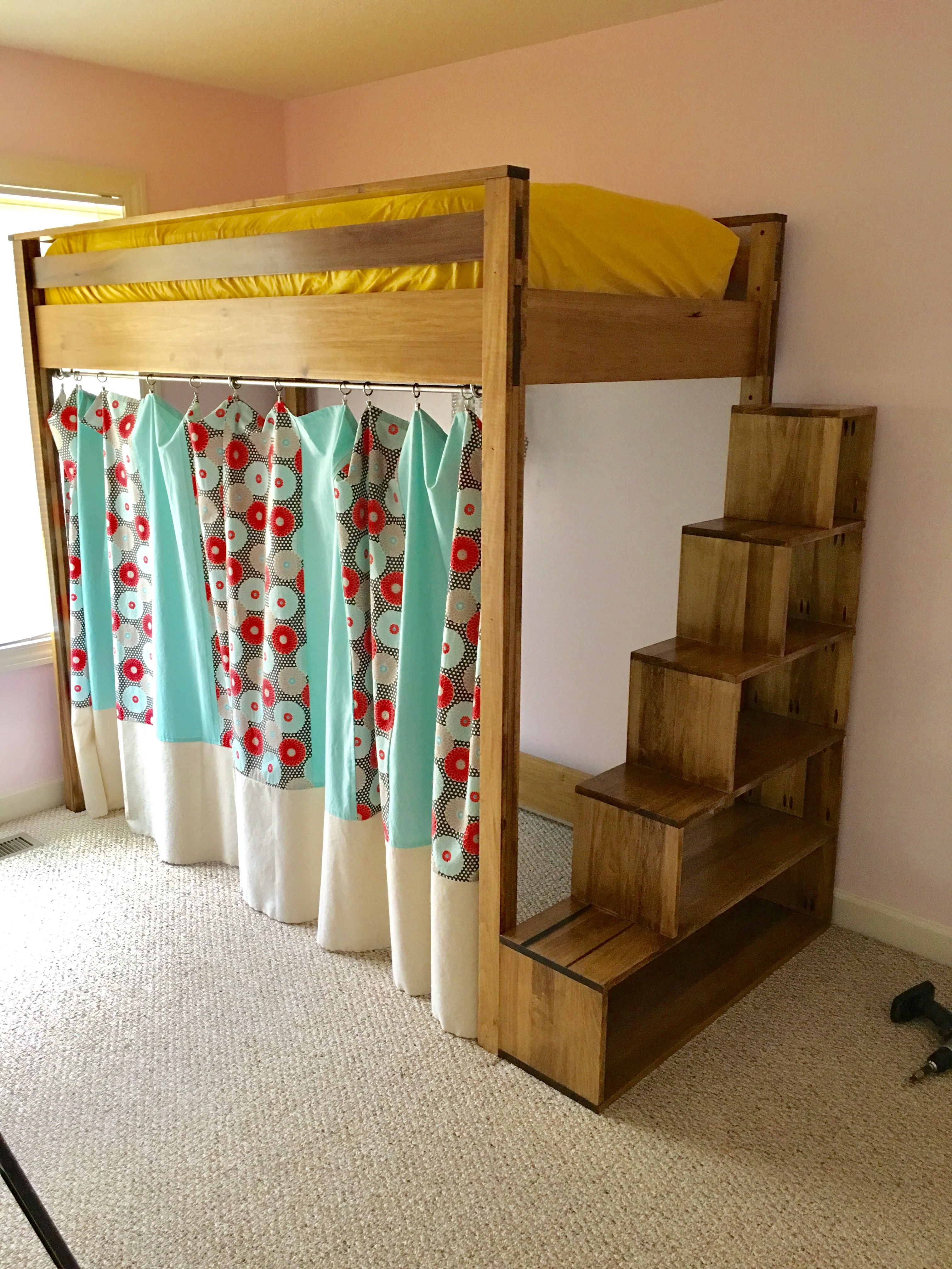 loft bed with stairs and storage