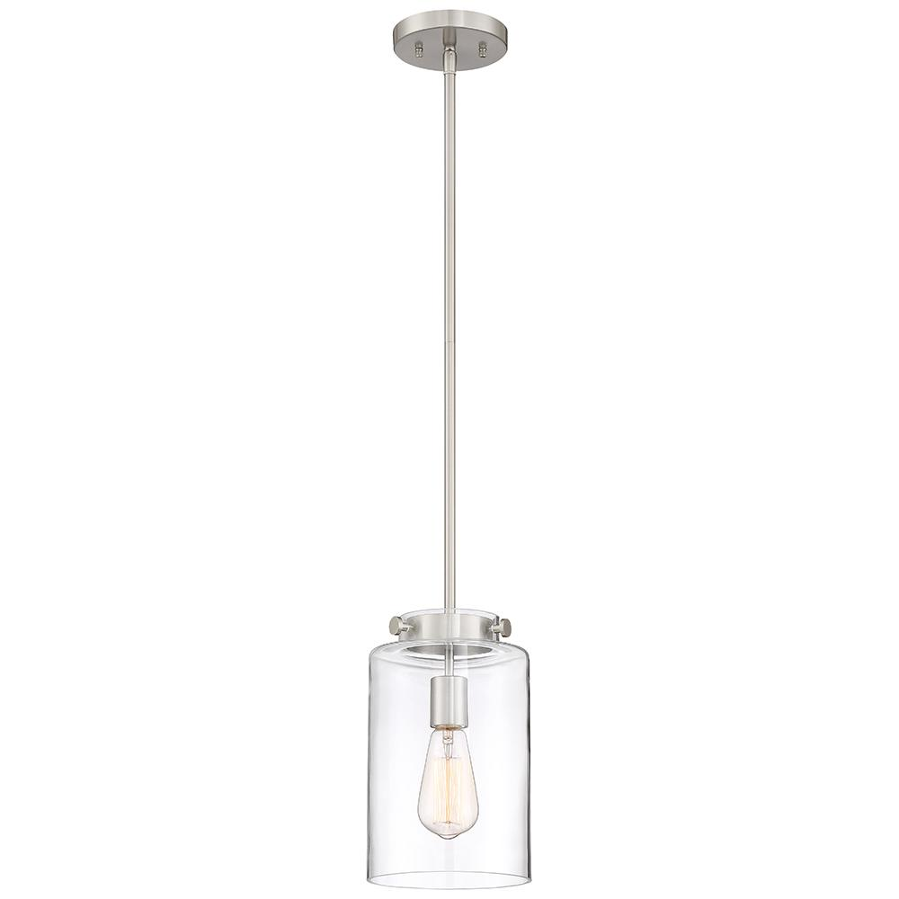Home Decorators Collection 1 Light Brushed Nickel Mini Pendant With Clear Glass Shade Brushed Nickel Pendant Lights Glass Pendant Light Glass Shades