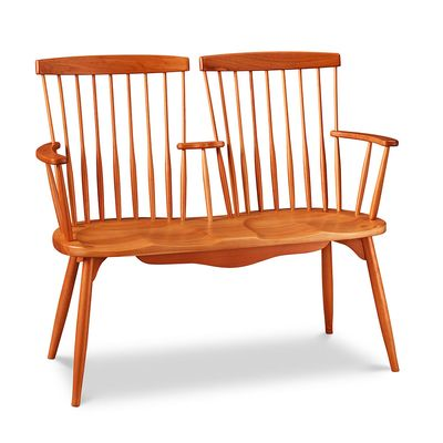 Two Seat Bench The Marriage Of Cherry And Maple Make For A Handsome Love Seat Made In Maine
