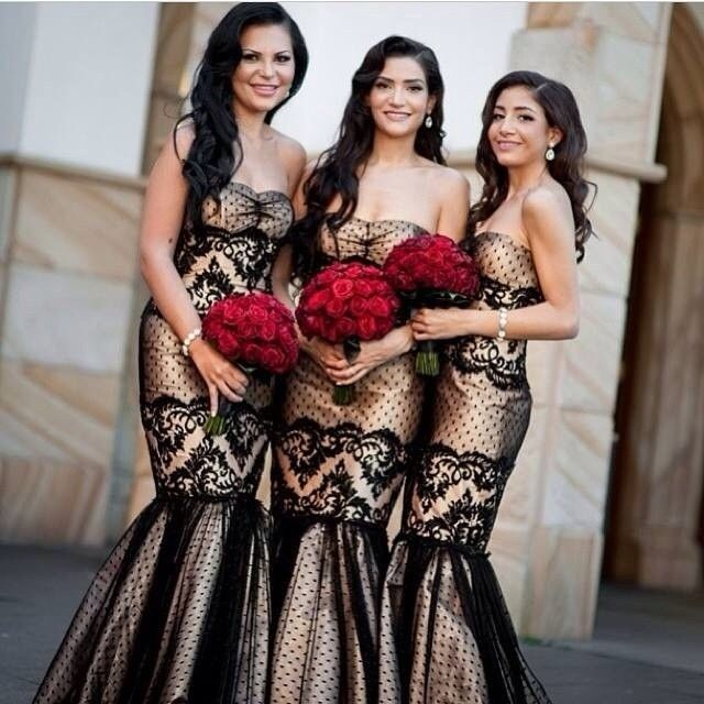 Nigerian wedding lace champagne black bridesmaids dresses ...