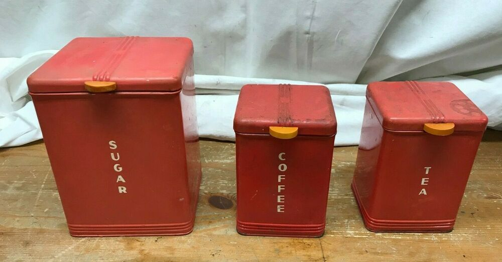 3 Vintage Kreamer Canisters Kitchen Canister Set Red Tin Sugar Coffee Tea in 2020 | Kitchen ...
