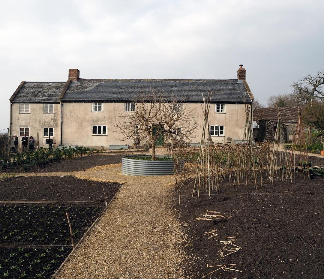 garden with circular layout, galvanized tub