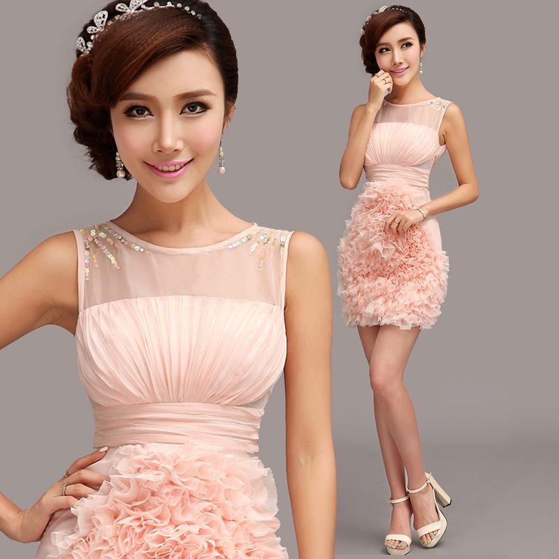 Pink bridal evening dress cheongsam racerback bridal wear wedding ...