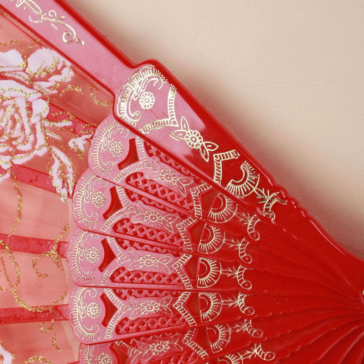 Spanish Style Lace Silk Plastic Rose Printed Folding Hand Fans Dance ...