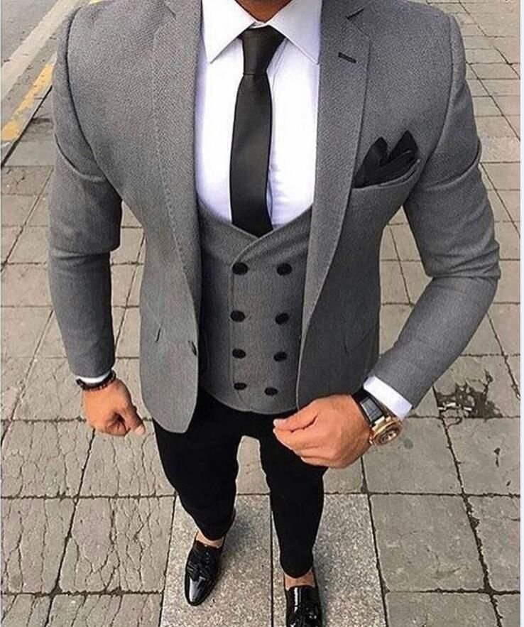 83935cd4a997 2018 Brand Tailored Smoking Grey Men Suit Slim Fit 3 Piece Tuxedo Groom Wedding  Suits Jacket Custom Prom Blazer Terno Masculino