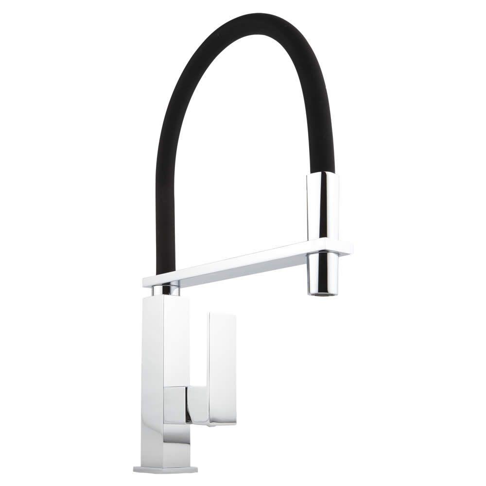 Küchenarmatur mit flexibler Brause in Schwarz und Chrom - eckig ...