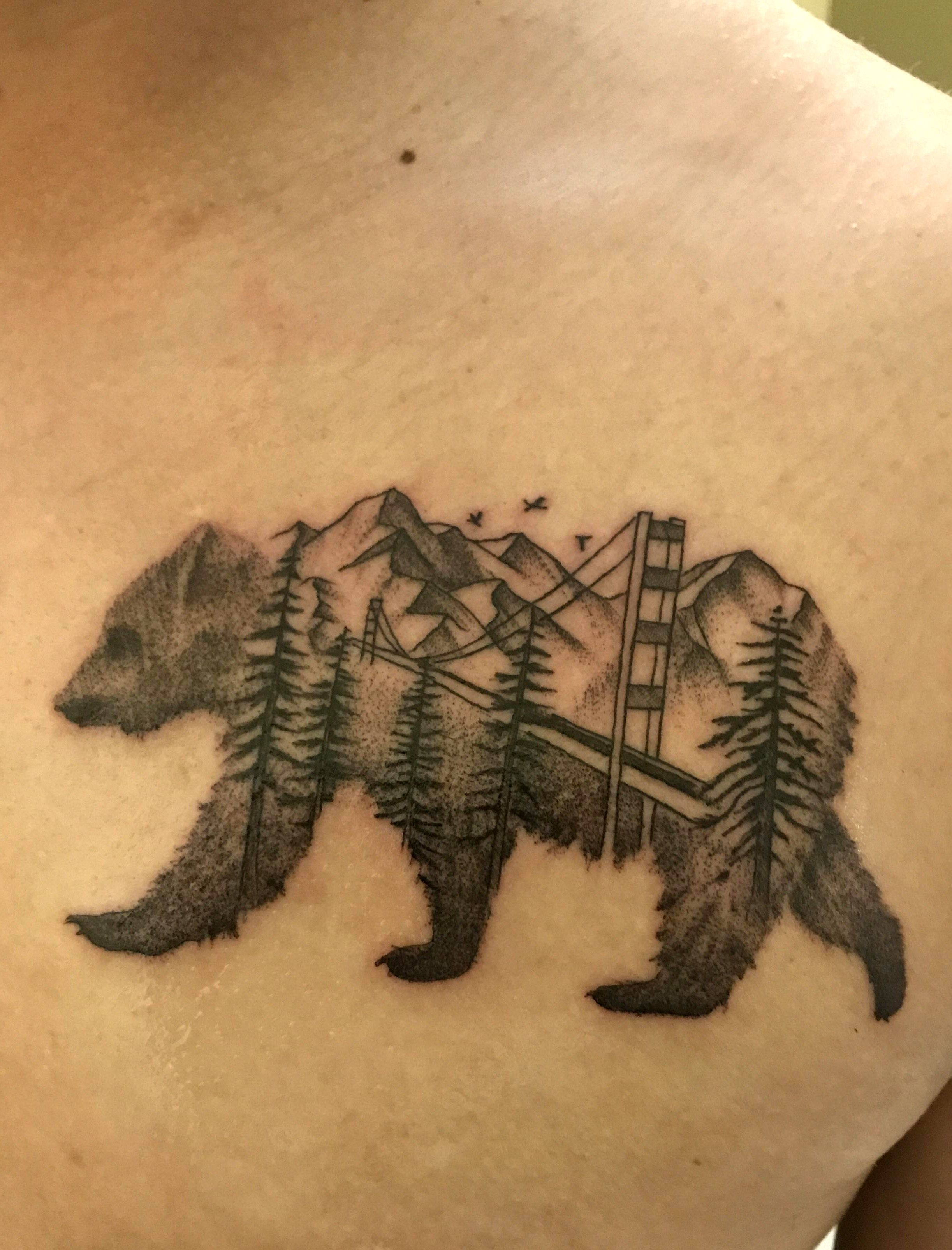 California bear tattoo done by Colton at Chapter One Tattoo in San Diego - Imageix