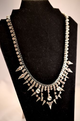 'Stunning Silver-Plated Crystal and Spike Necklace' is going up for auction at  5pm Fri, Jun 28 with a starting bid of $12.