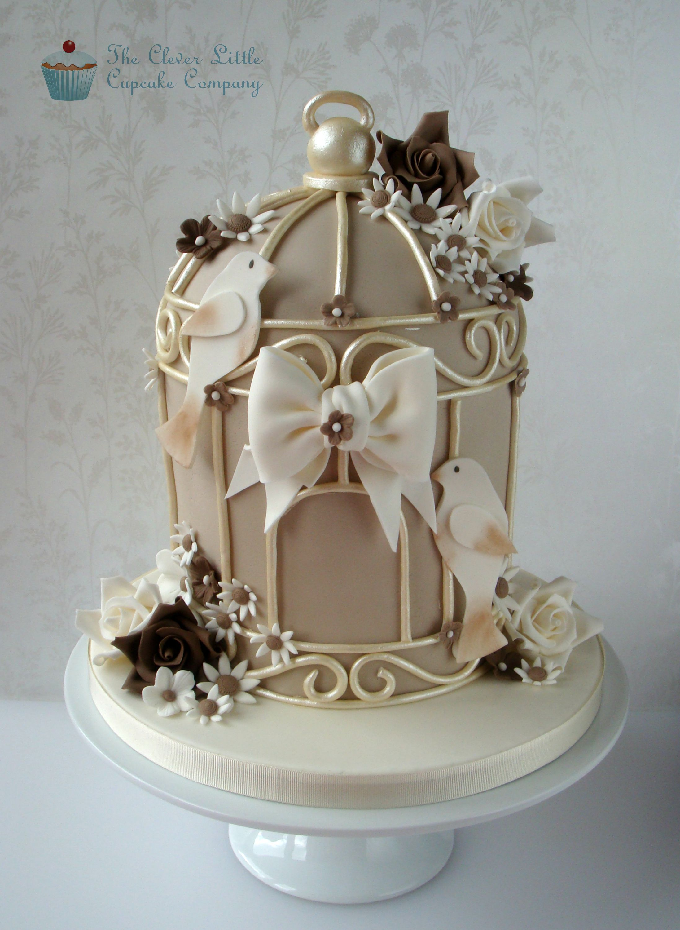 Birdcage Wedding Cake - A remake of my previous birdcage cake, this time in coffee, ivory and dark brown colours.  Vanilla sponge.