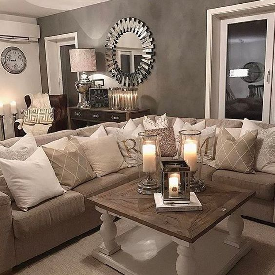 2 Seating Areas Window Pair Of Chairs And Buffet Table 2 Sectional 3 Church Bench Alongside Beige Living Rooms Brown Living Room Small Living Room Decor