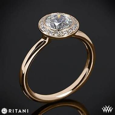This Solitaire Engagement Ring Is From The Ritani Endless Love Collection It Features A Circular Halo That Sparkles With Round Brilliant Diamond Melee