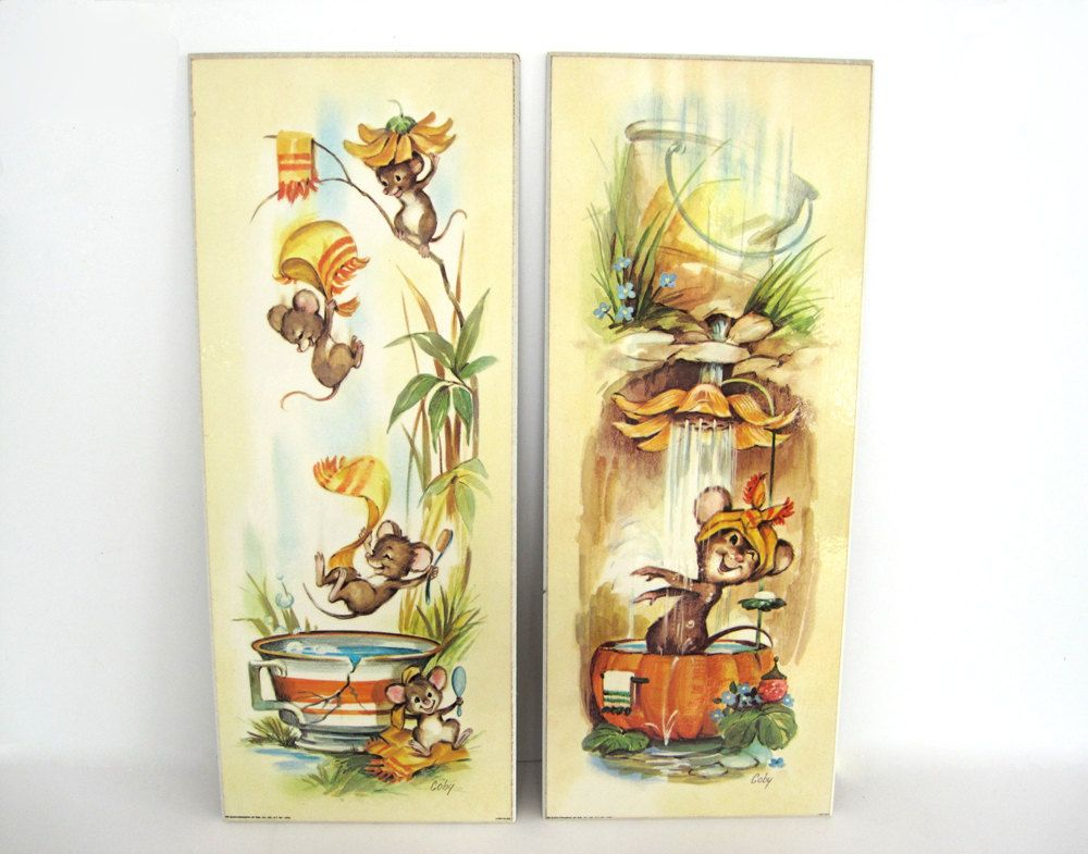 Vintage Wall Plaque Set Anthropomorphic Mice Shower Bathroom Bathtub ...