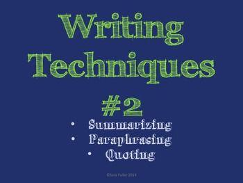 Summarizing Paraphrasing Quoting Writing Technique 2 Academic Work On V Pdf And
