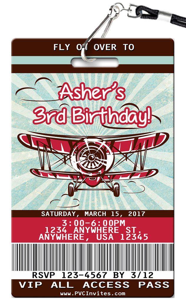 airplane birthday invitation vip pass birthday invitations