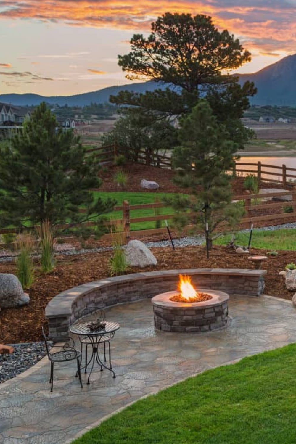 1 of 44 Fire Pit Sitting Ideas: Warmth With a View