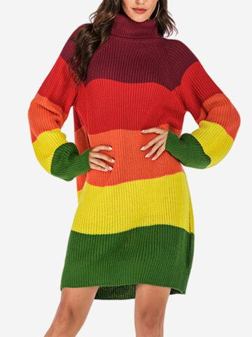 Contrast Color High Neck Sweater