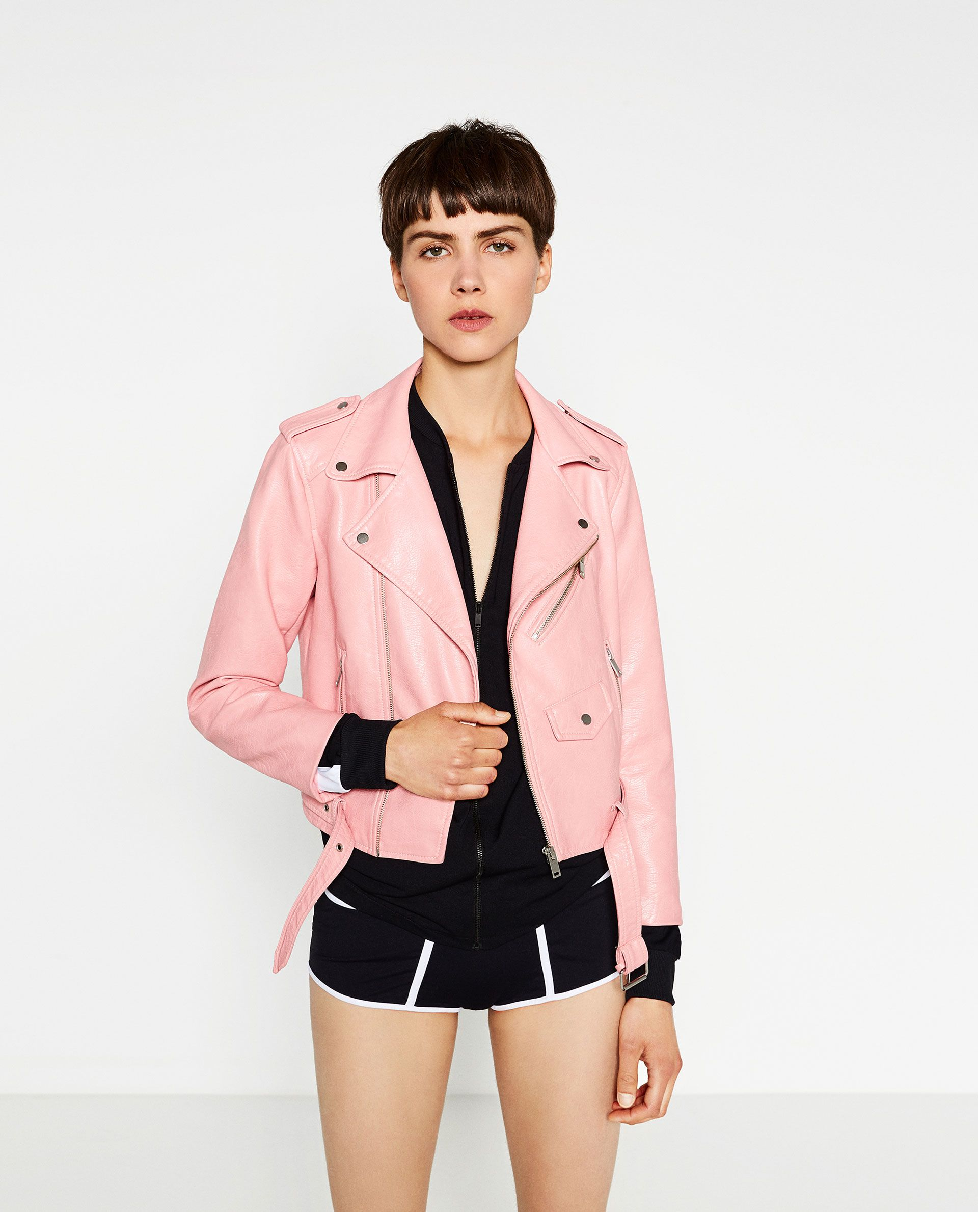 ZARA PINK FAUX LEATHER JACKET Pink leather moto jacket