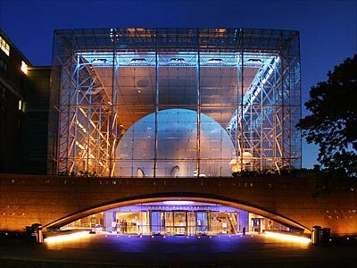 Rose Planetarium, NY, by Polshek and Schliemann, 2000.  Inspired by Cenotaph for Sir Isaac Newton, and science fiction. Sphere inside a glass cube.
