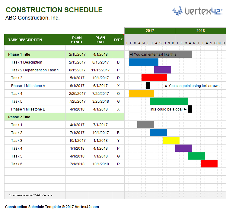 Delightful Download A Free Construction Schedule Template From Vertex42.com On Free Construction Project Management Templates
