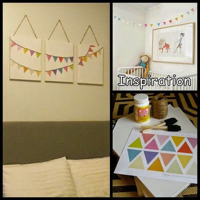 Turn Dollar Store Canvases Into Bunting Flags Wall Art | Projects to ...