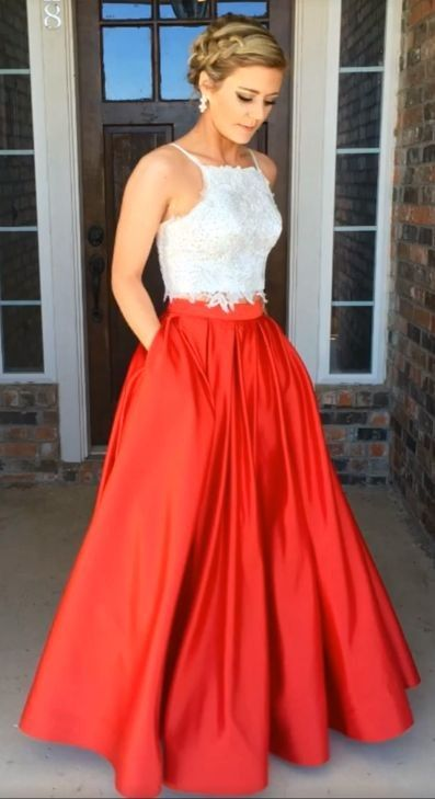 7d50878465 Fashion Orange Red Two Piece White Lace Prom Dress