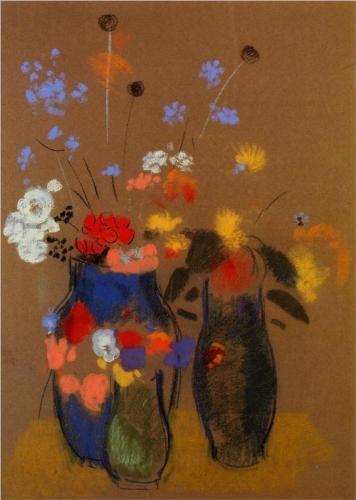 Odilon Redon ~ Three Vases of Flowers, c.1909