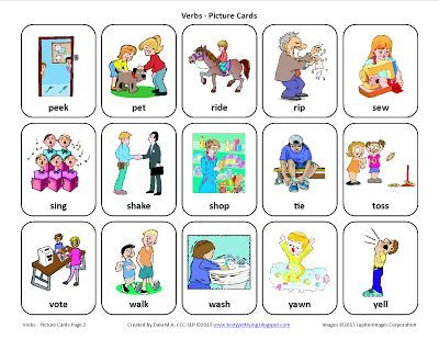 Verbs Free Speech Therapy Picture Cards Verbs Speech Therapy